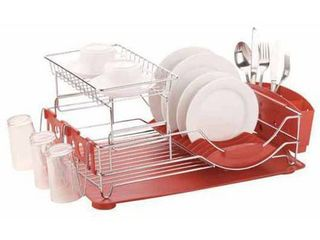 Home Basics 2 Tier Dish Drainer  Red