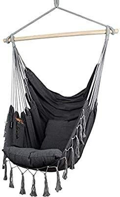 Hammock Chair   Hanging Rope Swing for Indoor   Outdoor   Soft   Durable Cotton Canvas   2 Cushions Included   large Macrame Hanging Chair with Pocket for Bedroom  Patio  Porch  Grey