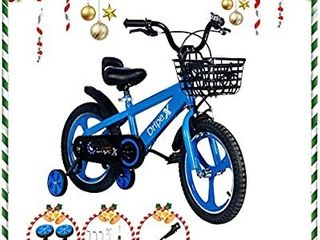 Dripex Kids Bike  Balance Bike 12 14 16 18 Inch Boys Bicycle Girls Bike with Training Wheels and Basket for Kids Ages 2 9 Kickstand for 16 18 Inch Bike Blue