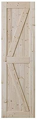 SmartStandard 24in x 80in Sliding Barn Wood Door Pre Drilled Ready to Assemble  DIY Unfinished Solid Nature Wood Panelled Slab  Interior Single Door Only  Natural  K Frame  Fit 4FT Rail   door only  no hardware