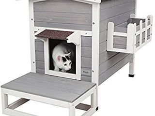 Petsfit Weatherproof Outdoor Cat Shelter House Condo with Stair