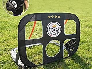 WISHOME 4FT 2 in 1 Pop Up Kids Soccer Goal Portable Kids Soccer Net