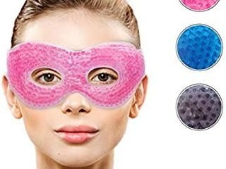 Gel Eye Mask with Eye Holes  Hot Cold Compress Pack Eye Therapy   Cooling Eye Mask for Puffy Eyes  Dry Eyes  Headaches  Migraines  Dark Circles  Sinus   Reusable Eye Face Mask   Ergo Gel Bead Green