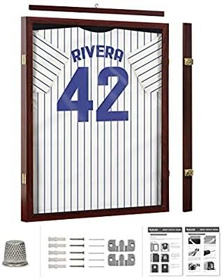 Jersey Display Frame Mahogany Finish Case large Shadow Box lockable with UV Protection Acrylic Hanger and Wall Mount Option for Baseball Basketball Football Soccer Hockey Sport Shirt