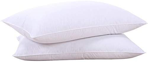 puredown Natural Goose Down Feather White Pillow Inserts  100  Cotton Fabric Cover Bed Pillows  Set of 2 King Size