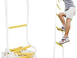 ISOP Outdoor Climbing Rope ladder   Compact Portable Safety Rope ladders   Hanging Rope with Hooks for Teens   Adults   Exercise Rope ladder for Swing Set   Tree House
