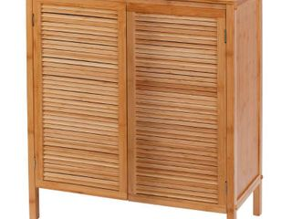 Two Door Ecostyle Floor Cabinet light Brown Bamboo   Creative Bath