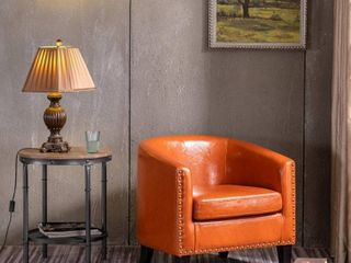 Modern PU leather Accent Chair Single Sofa with Copper Nails  Retail 179 99