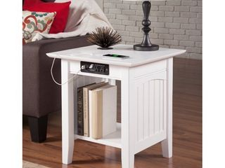 Nantucket End Table with Charging Station in White Retail 139 99