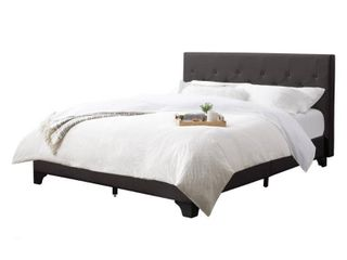 Queen Nova Ridge Diamond Button Tufted Fabric Bed and Frame Dark Gray by Corliving   Retail   459 00