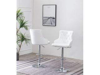 Best Quality Furniture Velvet  Faux leather Barstools with Nailhead Trim and Crystal Tufted Backside  Set of 2  Retail 287 99