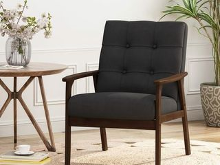 Duluth Mid Century Waffle Stitch Tufted Accent Arm Chair with Rubberwood legs by Christopher Knight Home  Retail 183 99
