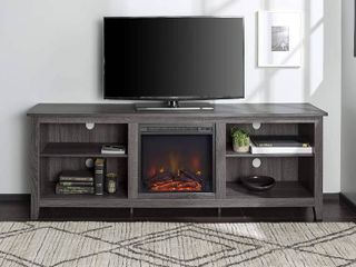 Walker Edison 70 in  Wood Media TV Stand Console with Fireplace   Retail   425 00