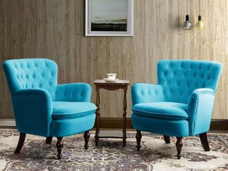 Isabella Accent Chairs Teal  Set of 2  Retail 565 49