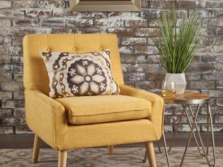 Eilidh Buttoned Mid Century Modern Tufted Fabric Club Chair by Christopher Knight Home  Retail 201 99