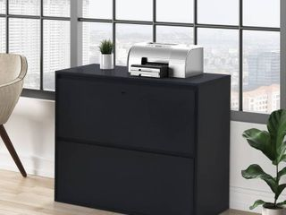 Home Office 2 Drawer lateral File Cabinet With lock For letter legal Size Files  Black Retail 265 49