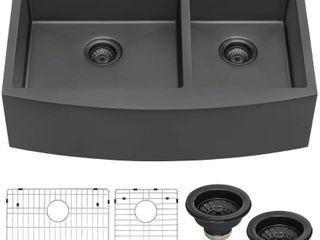 Ruvati 33 inch Gunmetal Black Stainless Steel 60 40 Double Bowl Apron Front Farmhouse Kitchen Sink  Retail   653 00