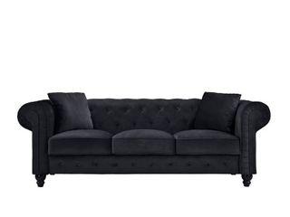 Microfiber Velvet Chesterfield Sofa with Victorian Style legs Black