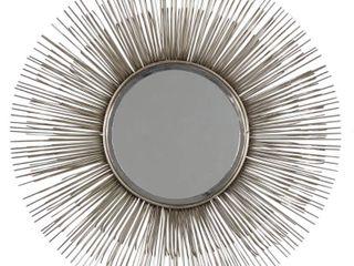 large Round Silver Metal Starburst Mirror Wall Decor  28 5    29 x 4 x 29  Retail 195 49