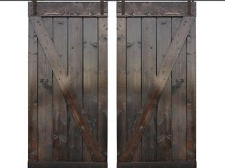 30 in  x 84 in  Dark Coffee Wood Double Sliding Barn Door Kit by CAlHOME   Retail  813 05
