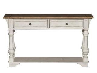 Morgan Creek Antique White and Tobacco Sofa Table  Retail 497 49