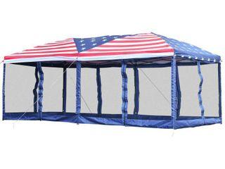 Outsunny American Flag 10  x 20  Pop Up Party Tent Gazebo w Mesh Walls  Retail 197 99