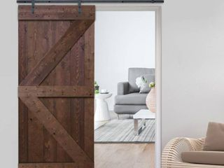 36 in  x 84 in  K Style Knotty Pine Wood Sliding Barn Door by CAlHOME in Walnut Stain  Retail   424 00