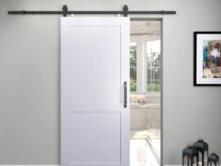 36 in  x 84 in  Millbrooke White H Style Ready to Assemble PVC Vinyl Sliding Barn Door