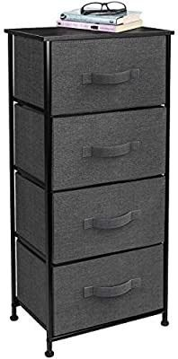 Sorbus Dresser with 4 Drawers   Tall Storage Tower Unit Organizer for Bedroom  Hallway  Closet  College Dorm   Chest Drawer for Clothes  Steel Frame  Wood Top  Easy Pull Fabric Bins  Black Charcoal