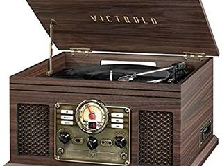 Victrola Nostalgic 6 in 1 Bluetooth Record Player   Multimedia Center with Built in Speakers   3 Speed Turntable  CD   Cassette Player  AM FM Radio   Wireless Music Streaming   Espresso