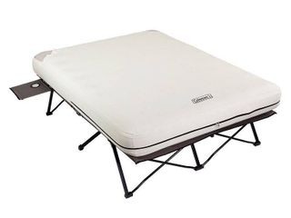 Coleman Camping Cot  Air Mattress   Pump Combo   Folding Cot with Side Tables  Air Bed   Battery Pump  Queen