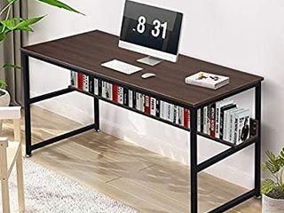 NSdirect Computer Desk 55  Home Office Desk with Bookshelf Industrial Study Writing Table with Space Saving Design Modern Simple Style laptop Table Brown