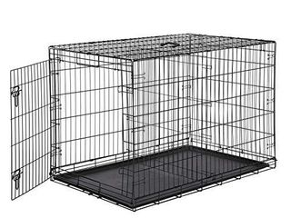 AmazonBasics Single Door   Double Door Folding Metal Dog or Pet Crate Kennel with Tray  48 x 30 x 32 5 Inches