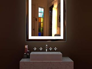HAUSCHEN 32 x 24 inch lED lighted Bathroom Wall Mounted Mirror with 5500K High lumen   CRI 95 Cold White lights and Anti Fog and Dimmable Memory Touch Button   IP44 Waterproof   Vertical   Horizontal