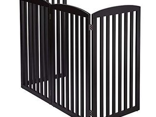 PAWlAND Wooden Freestanding Foldable Pet Gate for Dogs 4 Panel  36 inch Tall Fence  Dog Gate for The House  Doorway  Stairs  Extra Wide and Tall  Espresso