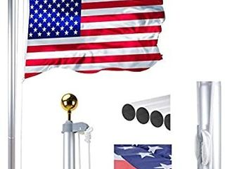 Voilamart 20 FT Sectional Flag Pole Heavy Duty Aluminum Outdoor In ground Flagpole with 3 5  American Flag and Gold Ball for Residential or Commercial Use