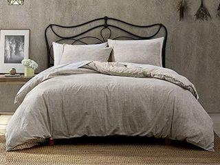 Brielle Callan Cotton Textured 3 Piece Comforter Set  Taupe  King
