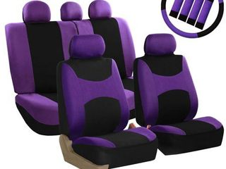 FH Group light   Breezy Purple and Black Auto Accessories Set  with Steering Wheel Cover and Seat Belt Pads  Airbag Compatible and Split Bench Full Set Seat Covers  NOT SURE IF ITS All HERE