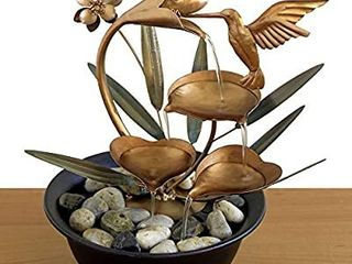 Bits and Pieces   Indoor Hummingbird lily Fountain   Zen Tabletop Water Fountain