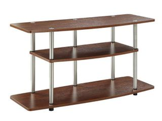 3 Tier Wide TV Stand   Cherry   Convenience Concepts  Brown