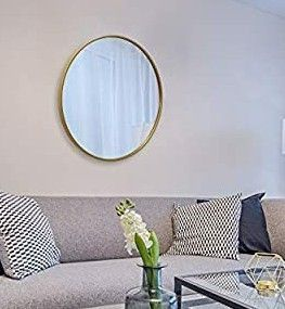 Circle Wall Mirror Inch Round Wall Mirror for Entryways  Washrooms  living Rooms and More  Gold  24