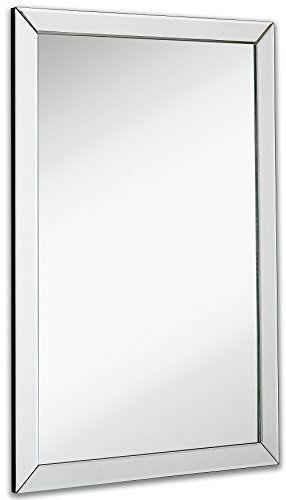 Hamilton Hills large Flat Framed Wall Mirror with 2 Inch Edge Beveled Mirror Frame   Premium Silver Backed Glass Panel   Vanity  or Bathroom   Rectangle Hangs Horizontal or Vertical  30  x 40