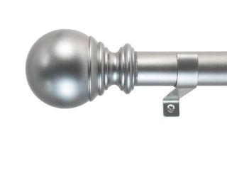 Decopolitan 1  Diameter Ball Telescoping Drapery Rod Set 72 144  Silver