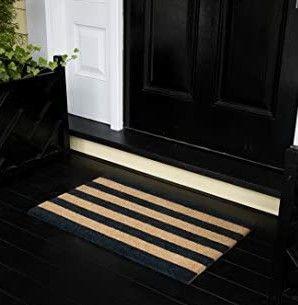 Erin Gates by Momeni Park Stripe Black Hand Woven Natural Coir Doormat 1 6  X 2 6