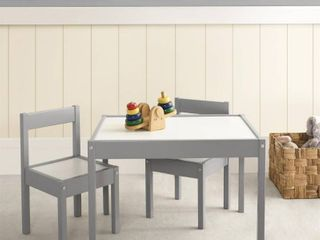 Hunter 3 Piece Kiddy Table   Chair Set   Gray White   Baby Relax  Grey