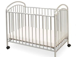 l A  Baby Classic Arched Portable Mini Crib with Mattress Pewter