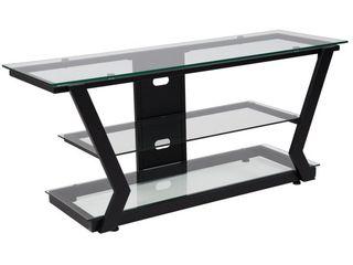 Flash Furniture Harbor Hills Glass TV Stand with Black Metal Frame