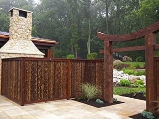 Natural Rolled Black Bamboo Fencing 1  D x 3  H x 8  l