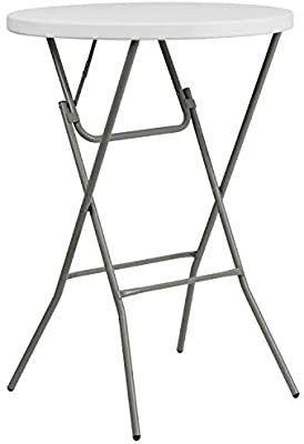 2 6 Foot Round Granite White Plastic Bar Height Folding Table