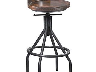 Set of 2 Bar Stools   Industrial Vintage Style   Swivel Wooden Seat   Bar Counter Height Adjustable 24 30inch   with Mini Backrest
